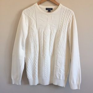 Chunky Cable Knit Cream Pullover Sweater Crew Neck